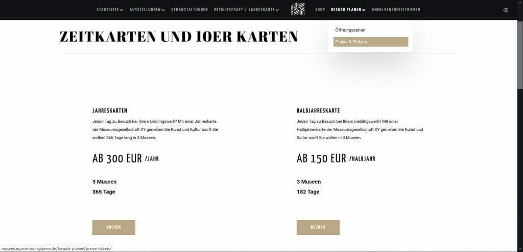 Beispielansicht eines Ticketshops von egocentric Systems - Seite Preise und Tickets