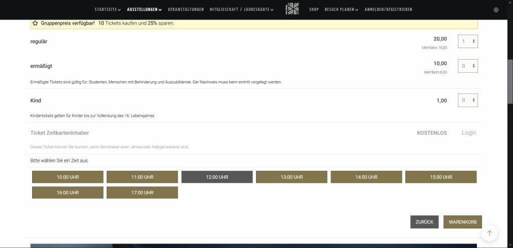 Beispielansicht eines Ticketshops von egocentric Systems - Seite Veranstaltungen mit Time Tickets und Zeitfensterauswahl