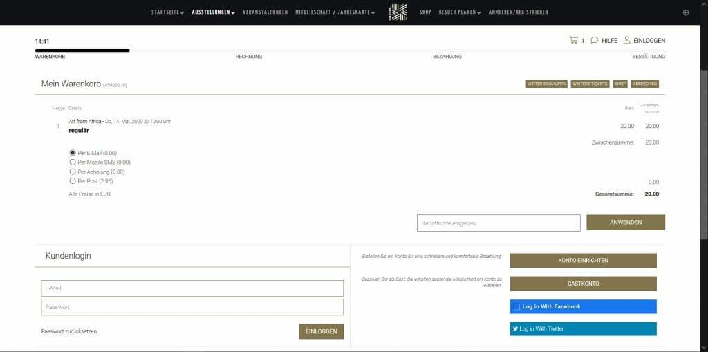 Beispielansicht eines Ticketshops von egocentric Systems - Warenkorb