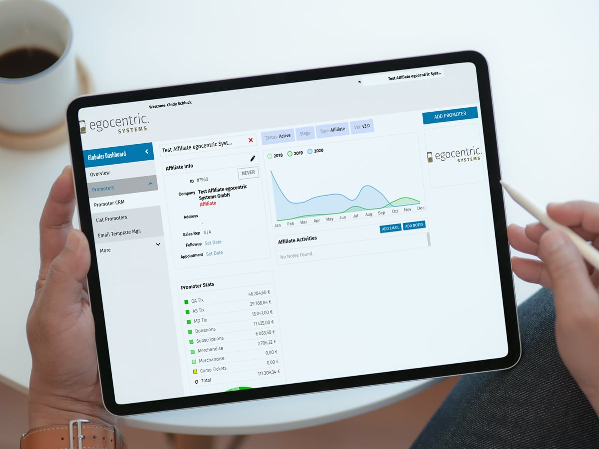 Das integrierte CRM-System von egocentric Systems hilft Dir Deine Kundendaten zu verwalten