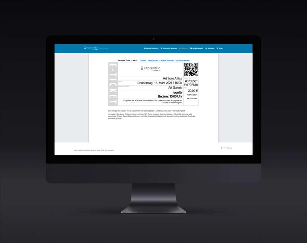 E-Ticket zum Abspeichern oder Drucken für einen reibungslosen Einlass