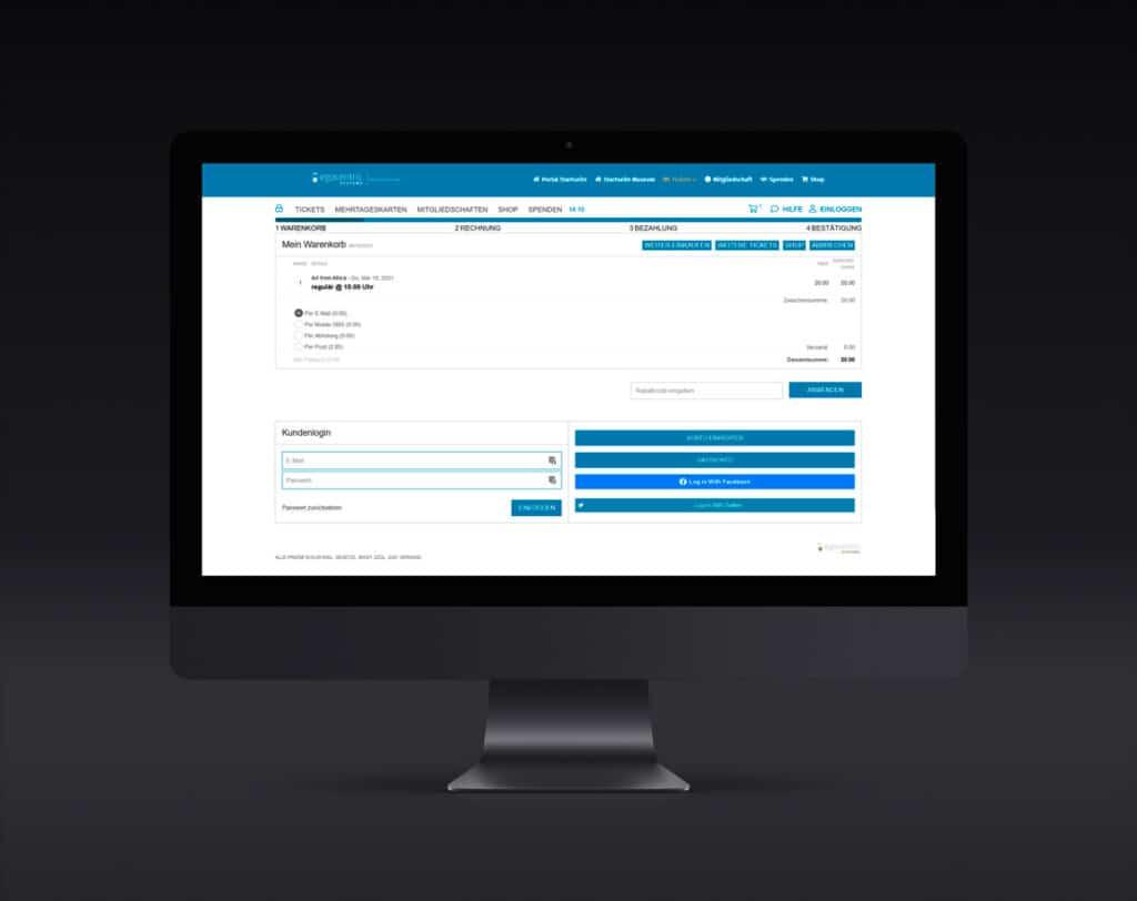 Kombinierter Warenkorb für Tickets und Produkte plus Abfrage der Kundeninformationen