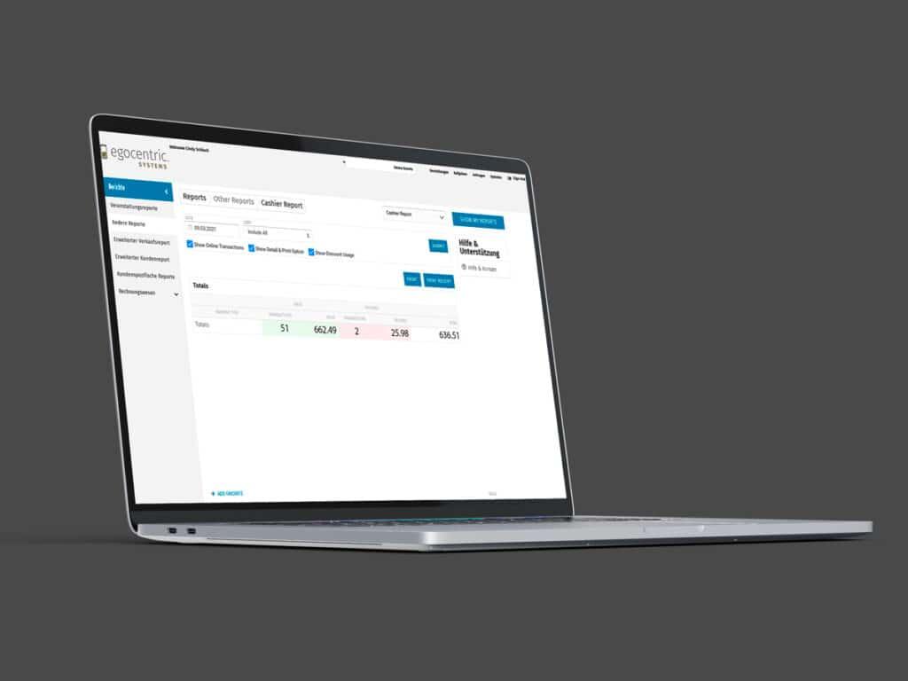 iMac mit der Übersicht des Kassenberichts