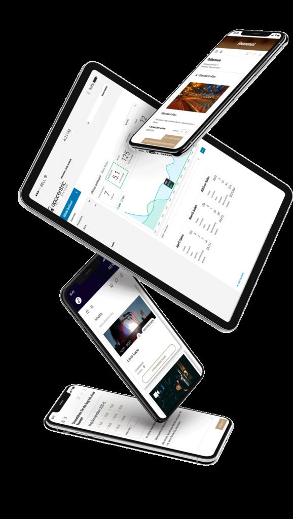 Geräte mit Abonnement kaufen, Berichte erstellen und einsehen, Livestream-Tickets verkaufen und Spenden einsammeln