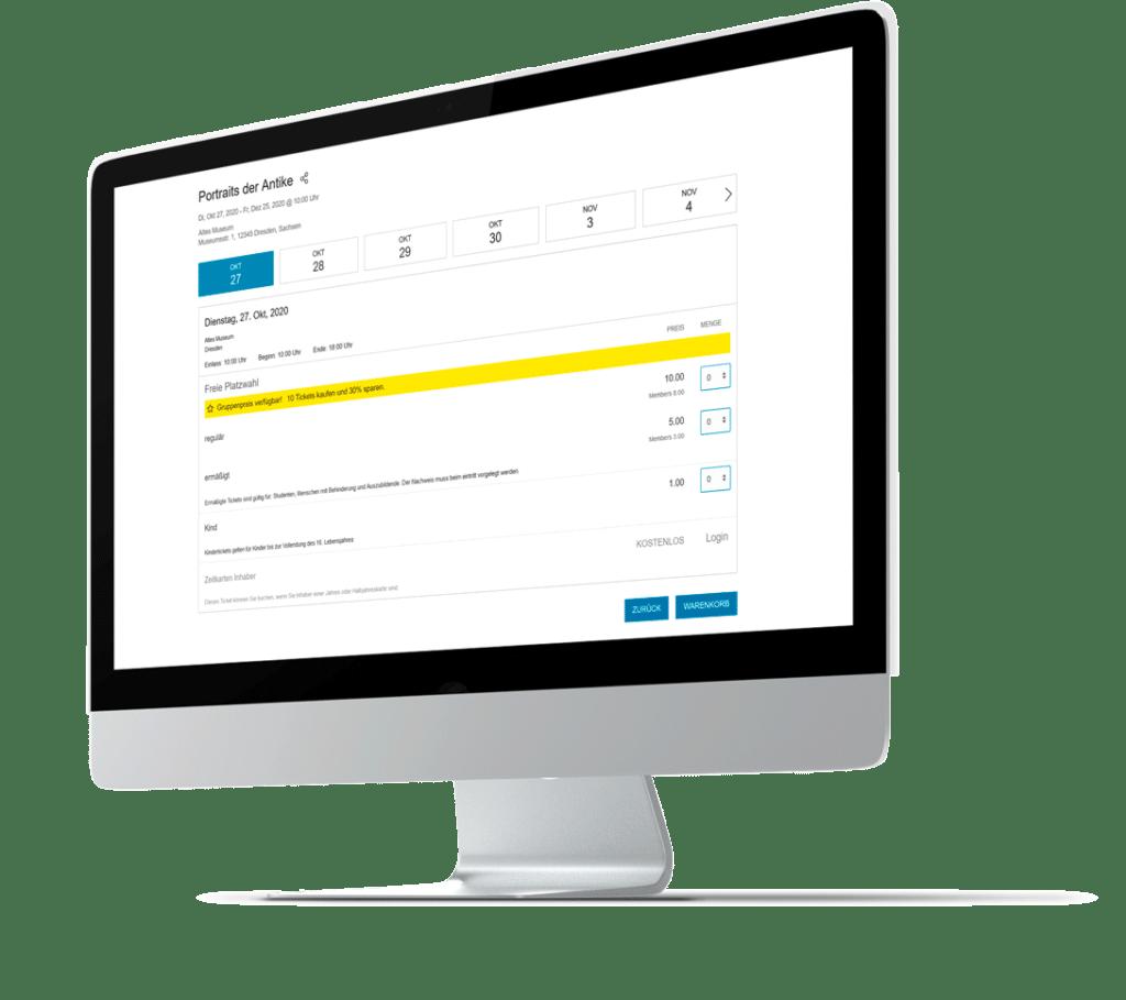 iMac mit dem Ticketshop und Auswahl von Gruppentickets