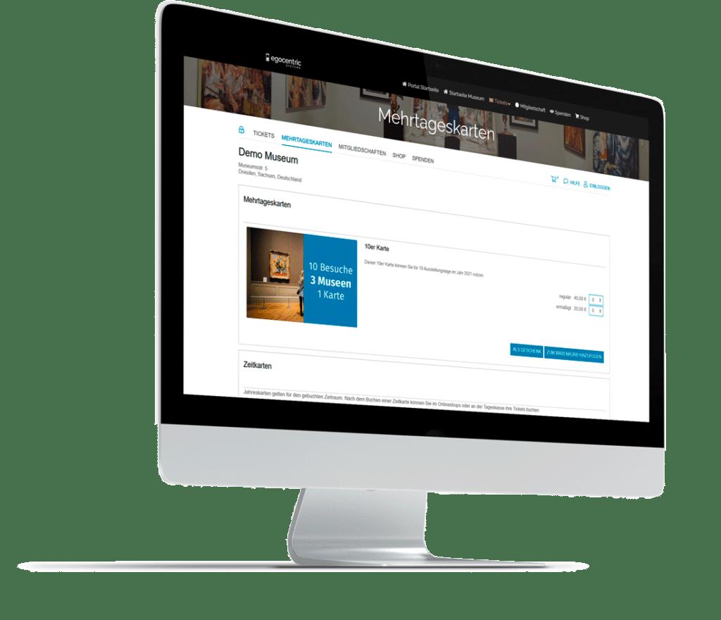 iMac mit der Anzeige des Ticketshops zum Kauf von Mehrtagestickets