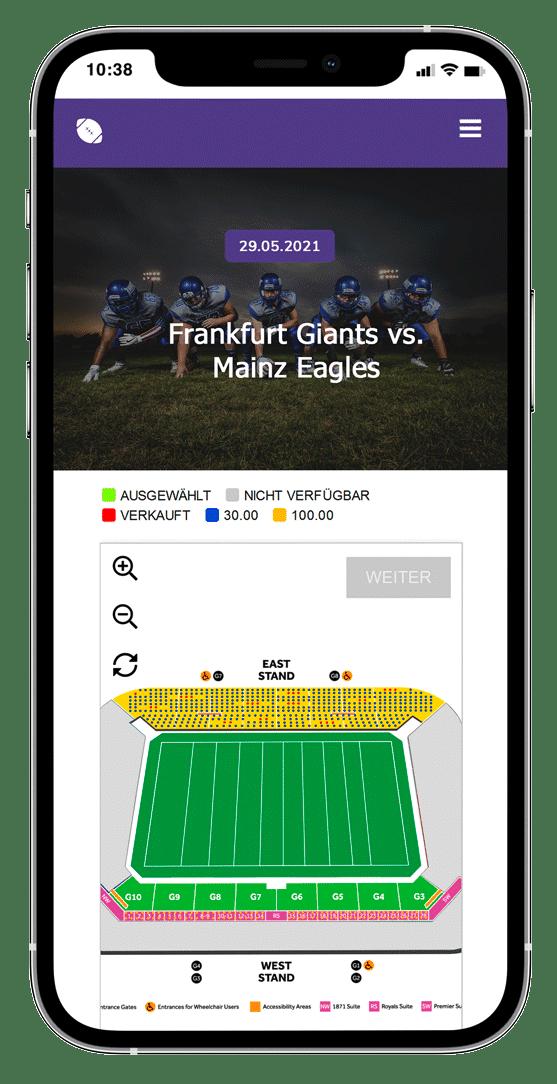 iPhone mit der Anzeige des Sportstadions zur Platzwahl