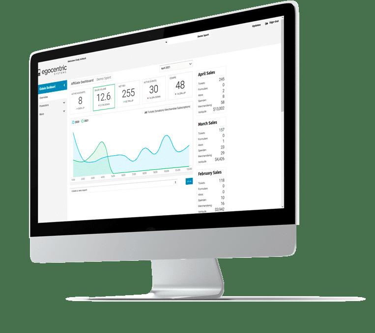 iMac zeigt den Eventmanager von egocentric Systems mit dem Veranstaltungs-Dashboard