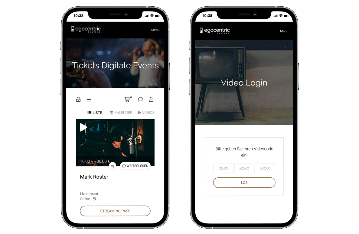 Two iPhones with the livestream ticket shop and the video login webpage