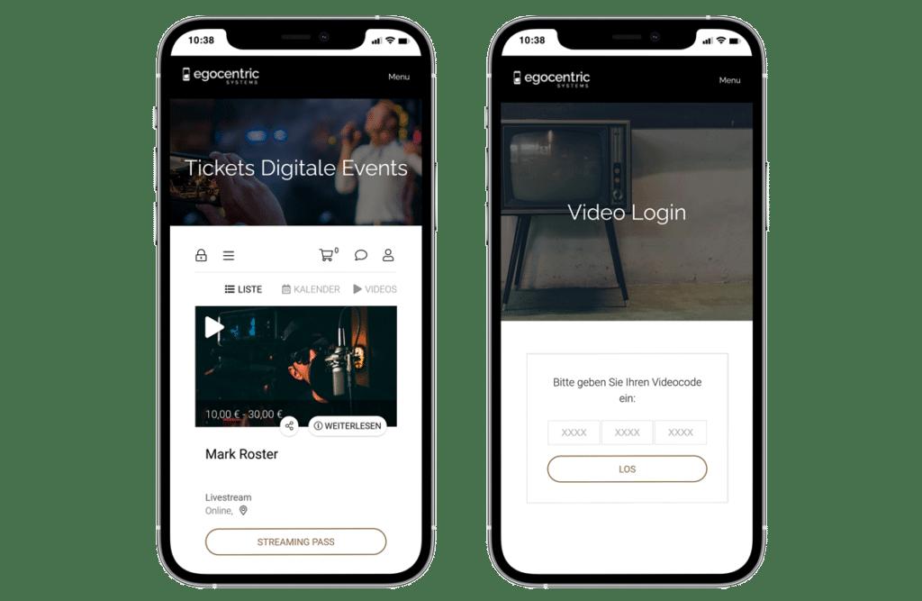 Zwei Smartphone mit der Ticketauswahl für Livestreams und der Livestream Login-Seite