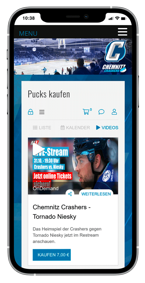 iPhone shows ticketshop for livestreams of an icehockey team